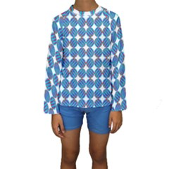 Geometric Dots Pattern Rainbow Kids  Long Sleeve Swimwear