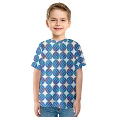 Geometric Dots Pattern Rainbow Kids  Sport Mesh Tee