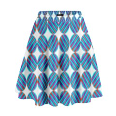 Geometric Dots Pattern Rainbow High Waist Skirt