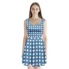 Geometric Dots Pattern Rainbow Split Back Mini Dress