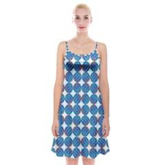 Geometric Dots Pattern Rainbow Spaghetti Strap Velvet Dress