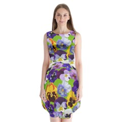 Spring Pansy Blossom Bloom Plant Sleeveless Chiffon Dress
