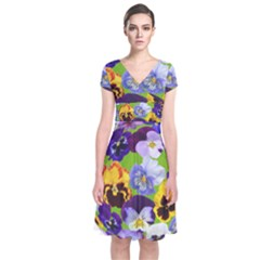 Spring Pansy Blossom Bloom Plant Short Sleeve Front Wrap Dress by Nexatart