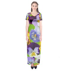 Spring Pansy Blossom Bloom Plant Short Sleeve Maxi Dress