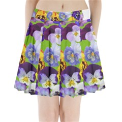 Spring Pansy Blossom Bloom Plant Pleated Mini Skirt by Nexatart