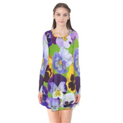 Spring Pansy Blossom Bloom Plant Flare Dress by Nexatart