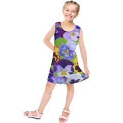 Spring Pansy Blossom Bloom Plant Kids  Tunic Dress by Nexatart