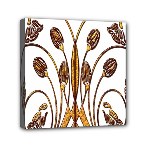 Scroll Gold Floral Design Mini Canvas 6  X 6  by Nexatart