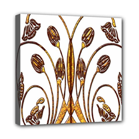 Scroll Gold Floral Design Mini Canvas 8  X 8  by Nexatart