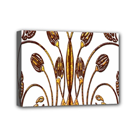 Scroll Gold Floral Design Mini Canvas 7  X 5  by Nexatart