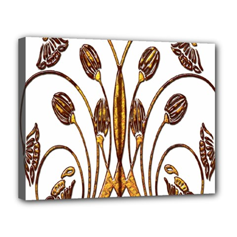 Scroll Gold Floral Design Canvas 14  X 11  by Nexatart