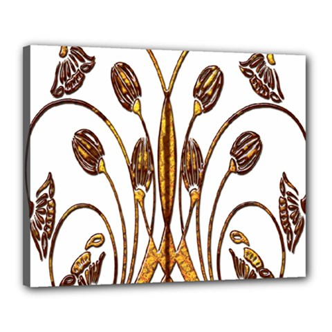 Scroll Gold Floral Design Canvas 20  X 16  by Nexatart