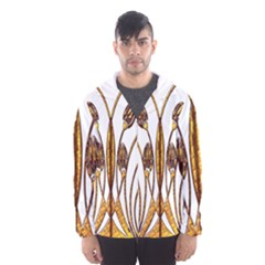 Scroll Gold Floral Design Hooded Wind Breaker (men)