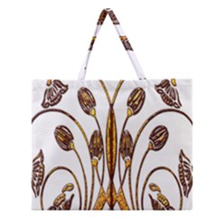 Scroll Gold Floral Design Zipper Large Tote Bag by Nexatart