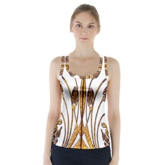 Scroll Gold Floral Design Racer Back Sports Top