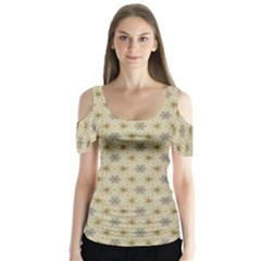 Star Basket Pattern Basket Pattern Butterfly Sleeve Cutout Tee