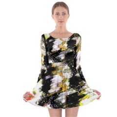Canvas Acrylic Digital Design Long Sleeve Skater Dress