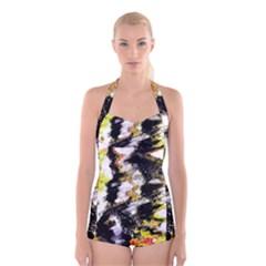 Canvas Acrylic Digital Design Boyleg Halter Swimsuit
