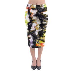 Canvas Acrylic Digital Design Midi Pencil Skirt