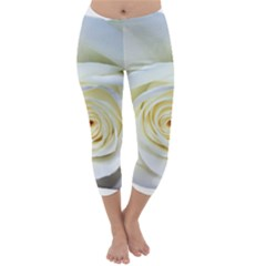 Flower White Rose Lying Capri Winter Leggings