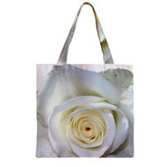 Flower White Rose Lying Zipper Grocery Tote Bag by Nexatart