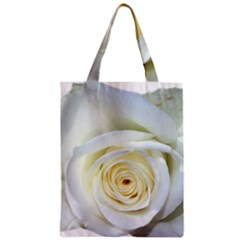 Flower White Rose Lying Zipper Classic Tote Bag by Nexatart