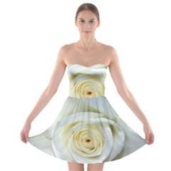Flower White Rose Lying Strapless Bra Top Dress