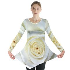 Flower White Rose Lying Long Sleeve Tunic