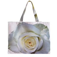 Flower White Rose Lying Medium Tote Bag by Nexatart