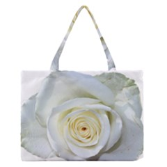 Flower White Rose Lying Medium Zipper Tote Bag by Nexatart