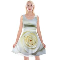 Flower White Rose Lying Reversible Velvet Sleeveless Dress