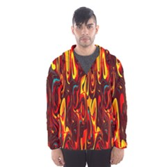 Effect Pattern Brush Red Orange Hooded Wind Breaker (men)