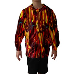 Effect Pattern Brush Red Orange Hooded Wind Breaker (kids)