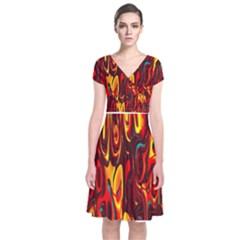 Effect Pattern Brush Red Orange Short Sleeve Front Wrap Dress