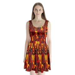 Effect Pattern Brush Red Orange Split Back Mini Dress