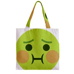 Barf Zipper Grocery Tote Bag by BestEmojis