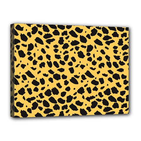 Skin Animals Cheetah Dalmation Black Yellow Canvas 16  X 12  by Mariart