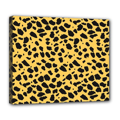 Skin Animals Cheetah Dalmation Black Yellow Deluxe Canvas 24  X 20   by Mariart
