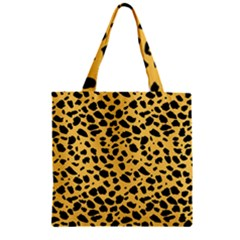 Skin Animals Cheetah Dalmation Black Yellow Zipper Grocery Tote Bag by Mariart