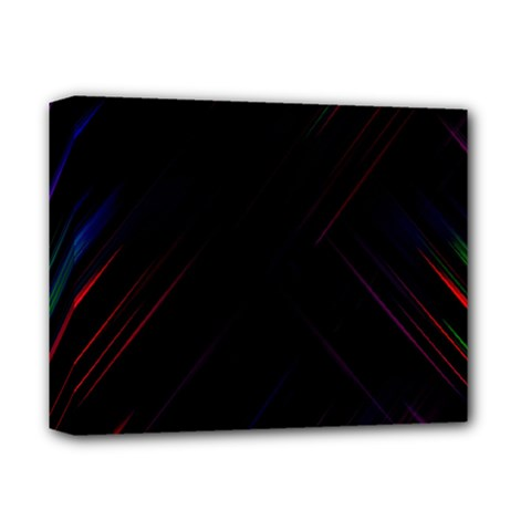 Streaks Line Light Neon Space Rainbow Color Black Deluxe Canvas 14  X 11  by Mariart