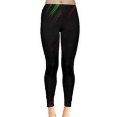 Streaks Line Light Neon Space Rainbow Color Black Leggings  by Mariart