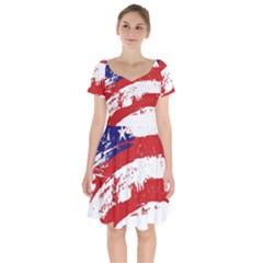 Red White Blue Star Flag Short Sleeve Bardot Dress