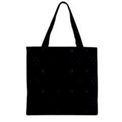 Star Black Zipper Grocery Tote Bag by Mariart