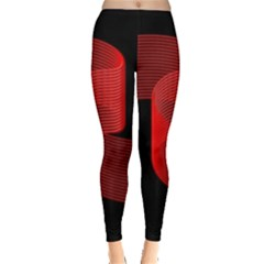 Tape Strip Red Black Amoled Wave Waves Chevron Leggings  by Mariart