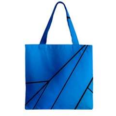 Technical Line Blue Black Zipper Grocery Tote Bag by Mariart