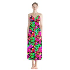 Colorful Leaves Chiffon Maxi Dress