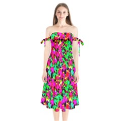 Colorful Leaves Shoulder Tie Bardot Midi Dress by Costasonlineshop