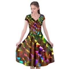 Cool Glitter Pattern Cap Sleeve Wrap Front Dress by Costasonlineshop