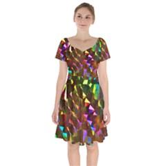 Cool Glitter Pattern Short Sleeve Bardot Dress
