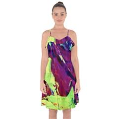 Abstract Painting ,blue,yellow,red,green Ruffle Detail Chiffon Dress by Costasonlineshop